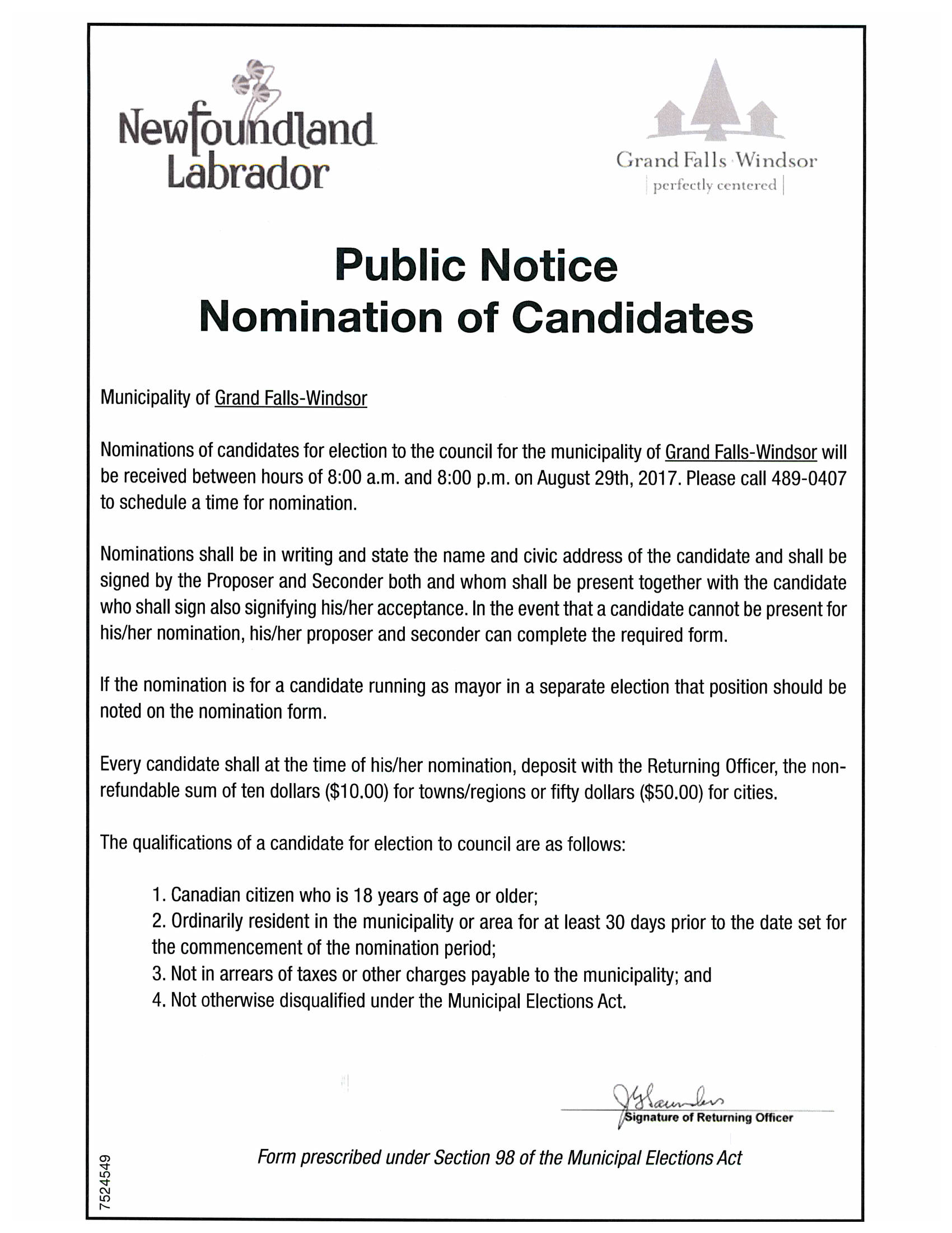 Advertisement for Nominations