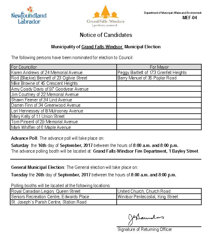Notice of Candidates Page 1