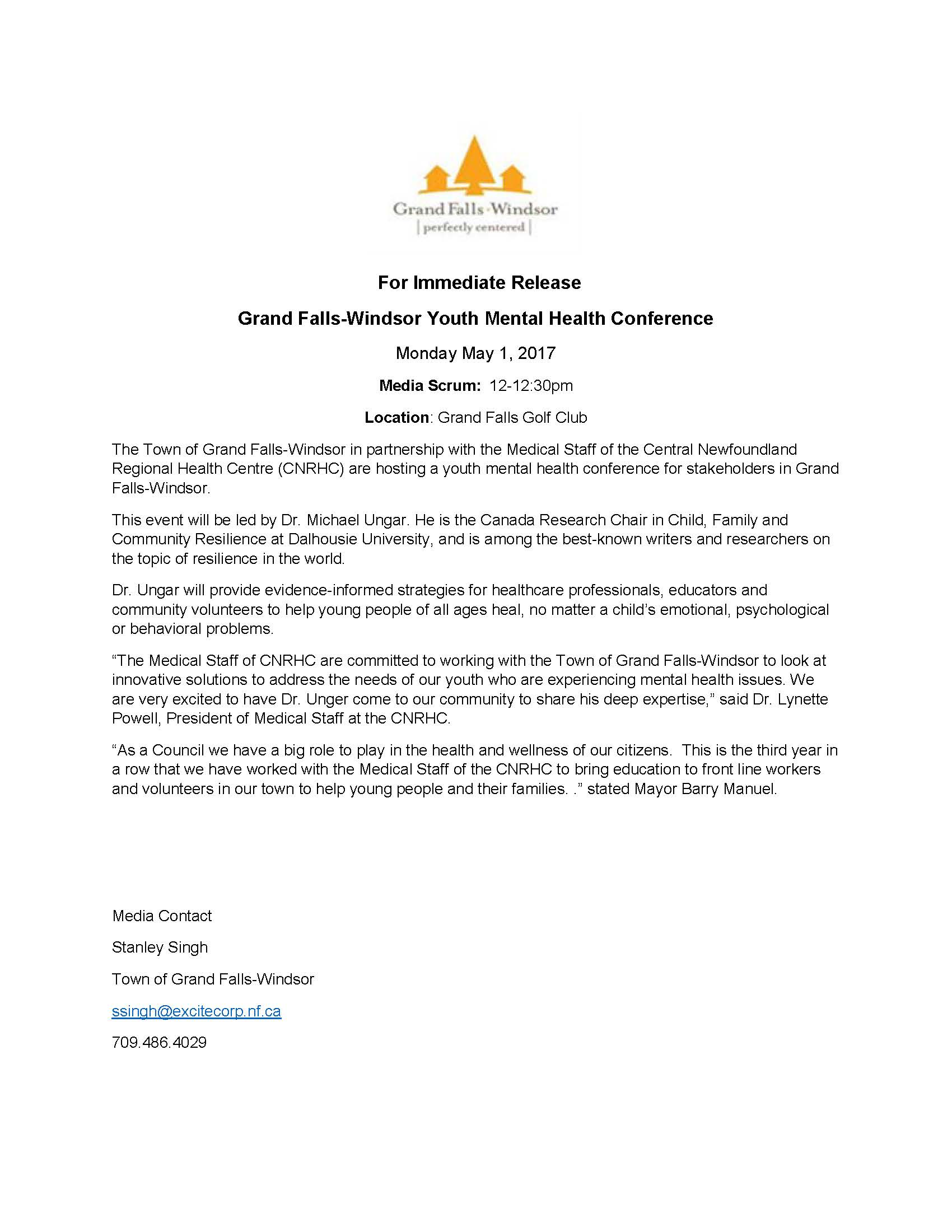 Press Release Dr. Michael Ungar Youth Mental Health Confence May 1J 2017